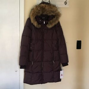 DKNY water resistant jacket with remover fur